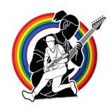 Musicus die elektrische gitaar, Muziekband spelen royalty-vrije illustratie