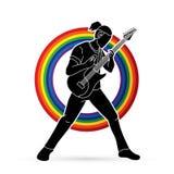 Musicus die elektrische gitaar, Muziekband spelen vector illustratie
