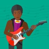 Musicus die elektrische gitaar speelt vector illustratie