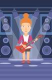 Musicus die elektrische gitaar speelt royalty-vrije illustratie