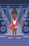 Musicus die elektrische gitaar speelt stock illustratie