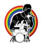 Musicus die en het spelen trommel, Muziekband, Kunstenaar zingen vector illustratie