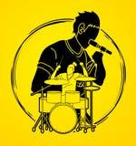 Musicus die en het spelen trommel, Muziekband, Kunstenaar zingen royalty-vrije illustratie