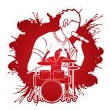 Musicus die en het spelen trommel, Muziekband, Kunstenaar zingen stock illustratie