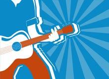 Musicus en gitaarachtergrond Vector stock illustratie
