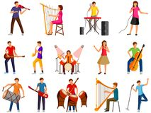 Musicus en kunstenaars die gitaar, trommel, harp, toetsenbord spelen stock illustratie