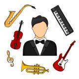 Musicus en muzikale instrumentenpictogrammen Royalty-vrije Stock Afbeelding