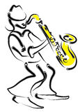 Musicus en saxofoon stock illustratie