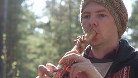 Musicus in etnische kostuumspelen op de Peruviaanse fluit stock videobeelden