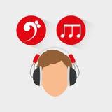 Musicus het luisteren melodie stock illustratie