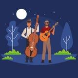 Musicus het spelen baarzen en gitaar vector illustratie