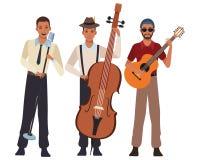 Musicus het spelen basgitaar en het zingen stock illustratie
