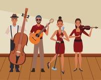 Musicus het spelen in een band royalty-vrije illustratie