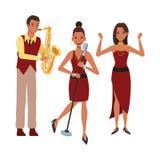 Musicus het spelen en saxofoon die zingen dansen stock illustratie