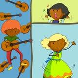 Musicus het spelen gitaar en meisjes het zingen vector illustratie