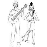 Musicus het spelen gitaar en zwart-wit zingen stock illustratie