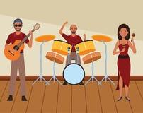 Musicus het spelen gitaartrommels en maracas royalty-vrije illustratie