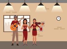 Musicus het spelen gitaarviool en maracas vector illustratie