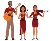 Musicus het spelen gitaarviool en maracas royalty-vrije illustratie