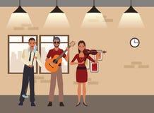 Musicus het spelen gitaarviool en het zingen vector illustratie