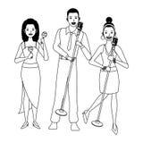 Musicus het spelen maracas en zwart-wit zingen vector illustratie