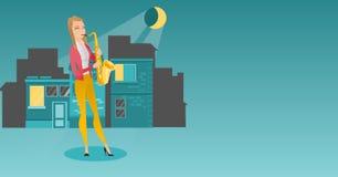 Musicus het spelen op saxofoon vectorillustratie stock illustratie