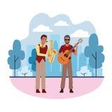 Musicus het spelen saxofoon en gitaar vector illustratie