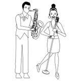 Musicus het spelen saxofoon en zwart-wit zingen royalty-vrije illustratie