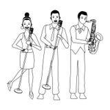 Musicus het spelen saxofoon en zwart-wit zingen vector illustratie