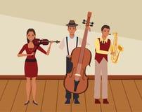 Musicus het spelen saxofoonbaarzen en viool stock illustratie