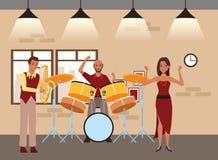 Musicus het spelen saxofoontrommels en het dansen royalty-vrije illustratie