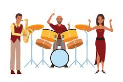 Musicus het spelen saxofoontrommels en het dansen stock illustratie