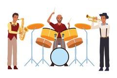 Musicus het spelen saxofoontrommels en trompet vector illustratie