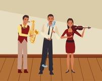 Musicus het spelen saxofoonviool en het zingen vector illustratie