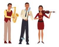 Musicus het spelen saxofoonviool en het zingen stock illustratie