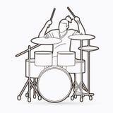 Musicus het spelen Trommel, de vector van de Slagwerkermuziek royalty-vrije illustratie