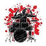 Musicus het spelen Trommel, Muziekband royalty-vrije illustratie