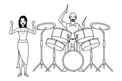 Musicus het spelen trommels en zwart-wit dansen vector illustratie