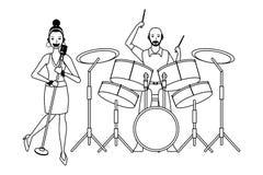 Musicus het spelen trommels en zwart-wit zingen vector illustratie