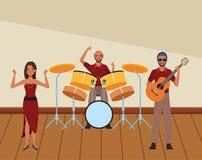 Musicus het spelen trommelsgitaar en het dansen stock illustratie