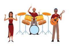 Musicus het spelen trommelsgitaar en het dansen vector illustratie