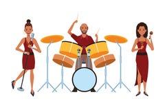 Musicus het spelen trommelsmaracas en het zingen vector illustratie