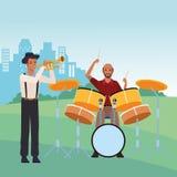 Musicus het spelen trompet en trommels stock illustratie