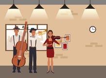 Musicus het spelen trompetbaarzen en viool royalty-vrije illustratie