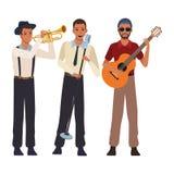 Musicus het spelen trompetgitaar en het zingen royalty-vrije illustratie