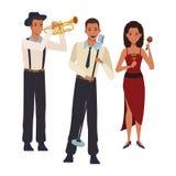 Musicus het spelen trompetmaracas en het zingen royalty-vrije illustratie