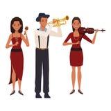 Musicus het spelen trompetviool en maracas royalty-vrije illustratie