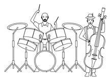 Musicus het spelen zwart-witte baarzen en trommels vector illustratie
