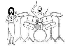 Musicus het spelen zwart-witte maracas en trommels royalty-vrije illustratie