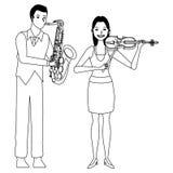 Musicus het spelen zwart-witte saxofoon en viool vector illustratie